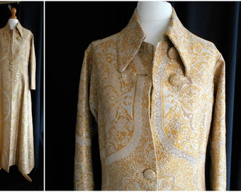 Absolutely Stunning Quality Vintage Gold Silk Brocade Bespoke Evening Coat 1960s
