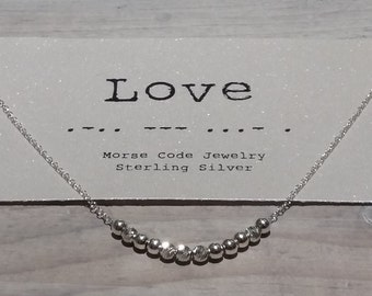 Love Morse Code Necklace, Morse Code Jewelry, Love necklace,dainty Sterling silver necklace.