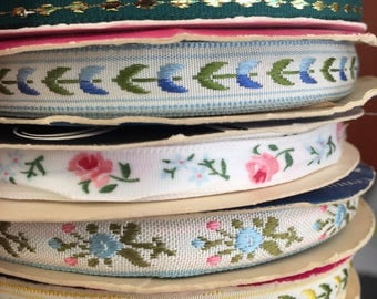 Vintage Woven Edge Ribbon collection (Set of 5 ribbons)