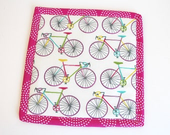 Bicycle Bikes Pot Holder Hot Pad Fabric Trivet