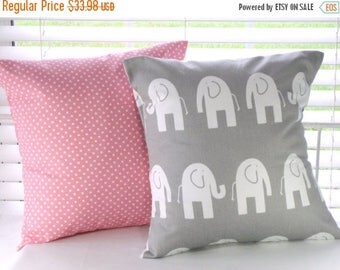 "CLEARANCE Pillow Covers, Pillows, Decorative Pillows, Baby Nursery, Baby Girl, Cushion, Gray Pillow, Pink Pillow, Elephant Pillow 18"" x 18"""
