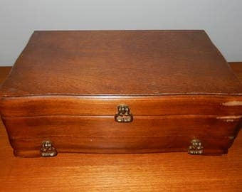 Vintage Jasco Jewelry Box with Turquoise Velvet Lining