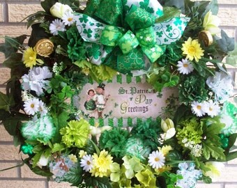 St Patrick's Day Wreath, Irish Wreath, Spring Wreath, Large Spring Wreath, Door Wreath, Wall Wreath