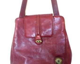 Leather burgundy shoulder bag