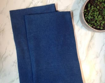 Blue dish towel set, two hand dyed tea towels, flour sack dish towels, cotton kitchen towels, indigo tea towels