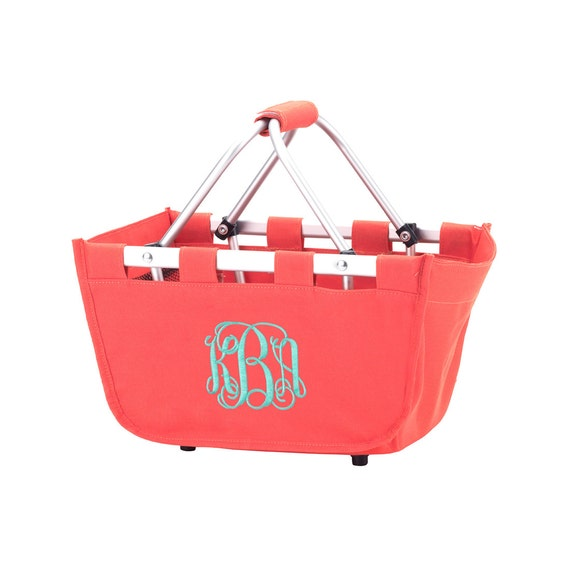 coral  mini Market tote picnic basket tote monogram basket tote personalized tote bag tailgate tote bag college dorm shower caddy basket