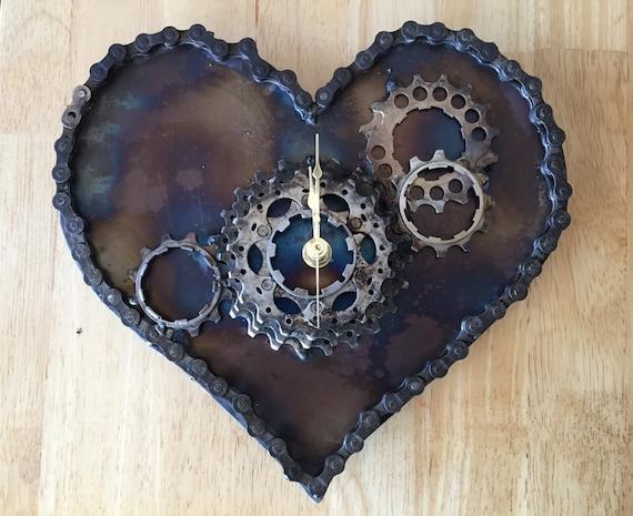Heart Gear Clock - Steel wall clock
