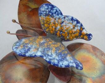 Vintage Artisan Made Copper & Enamel Butterfly