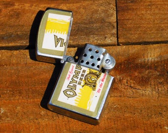 Vintage 70s Olympia Beer Flip Top Cigarette Lighter