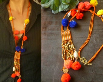 Ethnic Bohemian Necklace with Pom Poms and Cowries Shells. Ethnic Jewelry. Hippie Ibiza Jewelry. Boho Jewelry