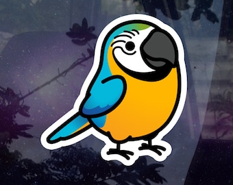 "Chubby Blue & Gold Macaw 3.5"" Sticker [Outdoor Quality]"