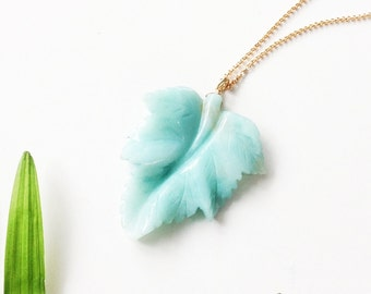 Leaf necklace, ceramic leaf necklace, blue leaf necklace, fine leaf necklace, blue leaf pendant, gold chain necklace, blue sky pendant