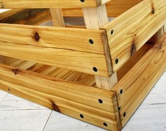 "Reclaimed Cedar Milk Crate 28"" x 28"" x 12"" . . . (aka reclaimed wood crate, cottage chic bin, wine crate shelf, box, basket)"
