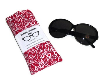 Fabric Sunglass or Eyeglass Case, Sunglass Holder, Eyeglasses Holder, Sunglasses Holder, Eyeglasses Case, Red and White, Gift For Women