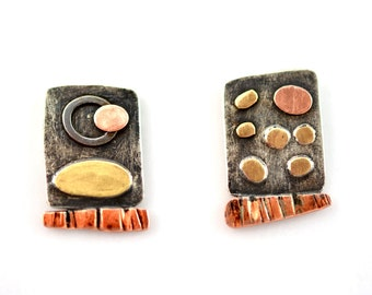 Sterling Silver Earrings with Brass and  Copper elements, Textured, One-of-a-kind, Patina, Mixed Metals, Unique,Contemporary,Made in Canada