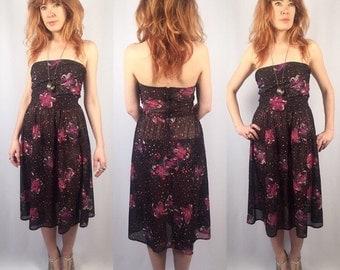 Vintage 70s Floral Dress Sheer