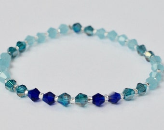 Swarovski Stretch Bracelet, Sparkly Jewelry, Blue Stackable Bracelet, Arm Candy, Boho Beaded Bracelet, Bridesmaid Gift, Gift for Her