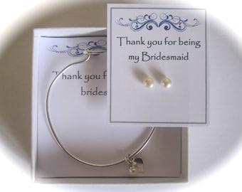 Bridesmaid Sterling Silver Heart Pearl Bangle & Pearl Earrings