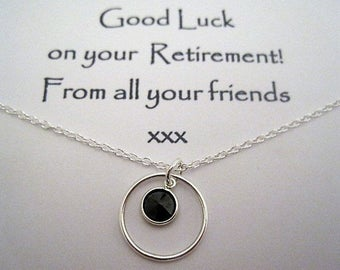 Sterling Silver Circle & Coloured Crystal Charm Necklace - A Retirement Gift