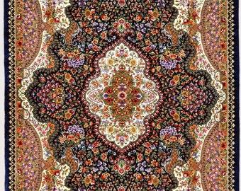 Grand masterpiece Qom Sadeghzadeh Silk Persian Rug 3x5 unique & super fine extremely detailed