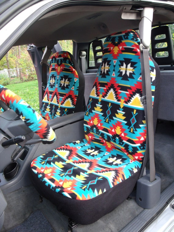 1 Set of  Southwest Turqoise Red Print Seat Cover and Steering Wheel Cover Custom Made.