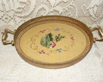 Antique Tapestry Tray With Handles Gold Brass Needlepoint Farm House Scene