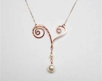Rose Gold Bridal Jewelry Rose Gold Wedding Necklace Mothers Day Rose Gold Necklace Rose Gold Necklace Rose Gold With Pearl Rose Gold Pendant
