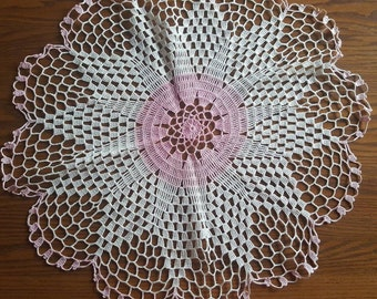 Huge Pink & White Doily