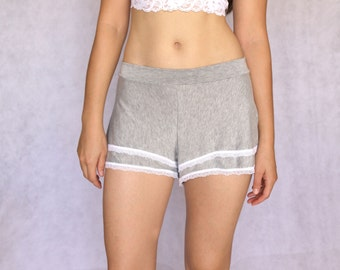 Heathered Grey Flared Pajamas Shorts. Womens Shorts with White Trim. Loungewear. Women's Shorts. Girly Lingerie