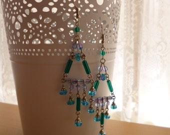 Aqua and Green Beaded Earrings Chandelier Boho