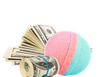 Strawberry Fields Cash Money Bath Bomb - Real Cash Inside of Bath Bombs, Cash Bath Fizzes, Surprise Bath Bomb, Dollar Bath Bombs, Surprise