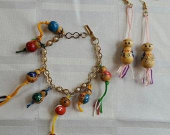 Vintage Wood Japanese Kokeshi Doll Bracelet and Earrings