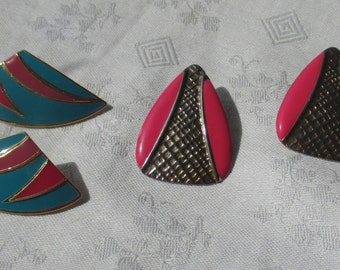 Retro Teal Mauve Hot Pink Enameled Pieced Earrings One Marked L Bott