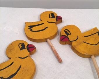 Very cute petite wood painted garden ducks