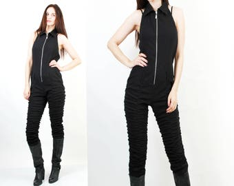 Black Jumpsuit / Party Jumpsuit / Sexy Jumpsuit / Sleeeveless Jumpsuit / 90s Jumpsuit / Black Overall / Halter Jumpsuit Size M