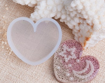 3 Silicone Resin Mold  HEART 35 x 31 MM - Heart Shaped Mold - Easy Release
