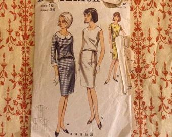 1960s Butterick 3814 bust 34 dress