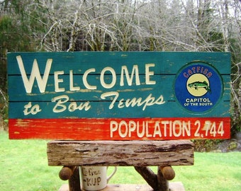 True Blood vampire fantasy sign, Welcome to BON TEMPS handmade on red/blue faux weathered wood with a decoupage catfish and bead board lines