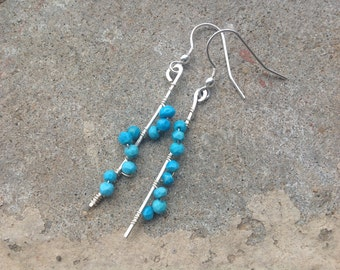 Delicate Natural Turquoise Earrings, Semi Precious Gemstone, Sterling Silver, Hand Hammered, Wire Wrapped, Gift for her