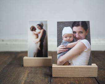 "photo holder - photo stand - wooden print display - photo display - card holder - for photographers - home decor- 13cm or 10cm long (4"" 5"")"
