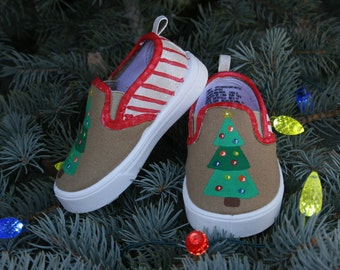 Hand PAINTED CHRISTMAS SHOES, toddler and child sizes, Christmas Tree Shoes