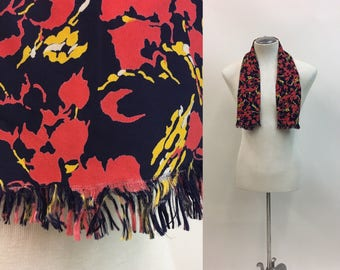 Vintage DECO 1930s Coat Scarf /multi colored ABSTRACT Pattern / Mens Silk Opera Theatre Scarf