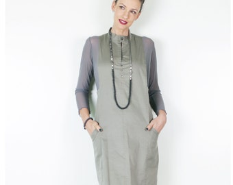 ON SALE Pinafore Dress, Womens Pinafore, High Fashion Dress, Jumper Dress,  Olive Green Dress, Fashion Dress, Feminine Clothing
