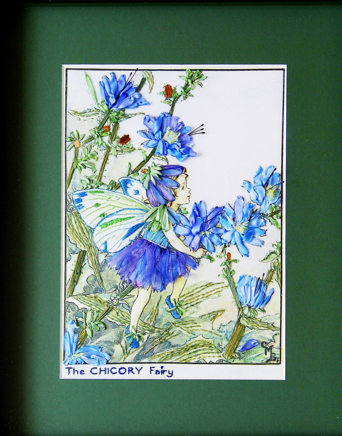 Chicory fairy silk embroidery wall hanging childrens