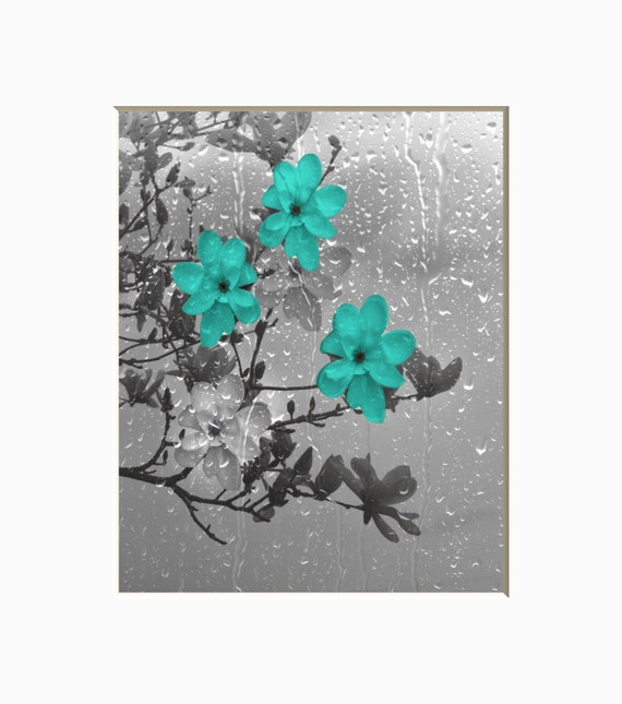 Teal Gray Floral Bathroom Wall Art Photography Decorativie