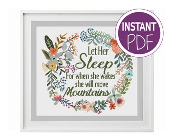 Cross Stitch Pattern, Let Her Sleep counted Cross-Stitch Chart, Let her sleep by Peppermint Purple