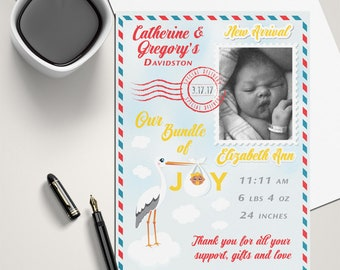 A Stork's Special Delivery Baby Birth Announcement Design with Photo | Digital FIle ~OR~ Printed Cards