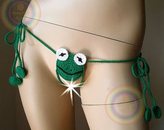 Lucky Frog Open Crotch Slipknot Thongs Unisex G string Adult Funny Sexy Gift Mature