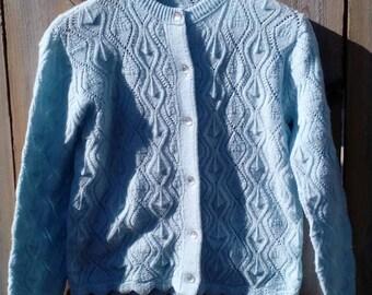 Vintage Knit Powder Blue Granny Sweater Women's Size Small
