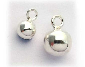 6mm sterling silver ball charm , sterling silver round small charm .  sterling silver 925 sphere with loop